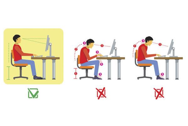 Postura correcta espalda altura pantalla ordenador